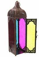 MOROCCAN STYLE AGED BRONZE PATTERNED GLASS LANTERN TEALIGHT CANDLE HOLDER LARGE