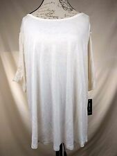 NEW Style & Co Women's Cream Shirt Top - Cut out Lace Short Sleeves - Size XL
