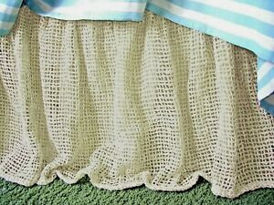 Soft Surroundings Raw Silk Woven Bedskirt Ivory CA King Orig $279