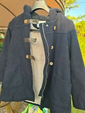Girls Winter Navy Blue Lined Vertbaudet toggle coat Age 10 Years