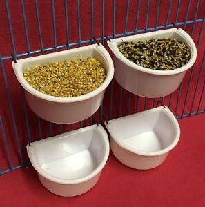 4 Budgie Cage Clip On Water Food Bowl Feeder 2 Hook Cup 7cm Cockatiel Canary