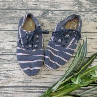 Womens Toms Pink Navy Washed Stripe Rope Cordones Lace Up Canvas Shoes 8.5