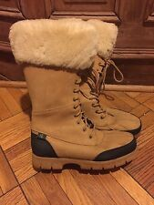 Ralph Lauren tan nubuck leather waterproof shearling lined snow boots 8