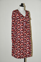 Marni Commessa Red White Blue Abstract Paisley Vneck Shift Dress Women 44 M/L