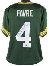 """Packers Brett Favre """"Career Stats"""" Signed Green Jersey w/ Favre Hologram & COA"""