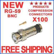 100 Bnc Compression Connector for Rg59 Coax Cable Cctv Fitting with Separate Pin