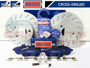 FOR MERCEDES C180 C220 C250 CDi FRONT DRILLED BRAKE DISCS BRAKE PADS AND WIRES