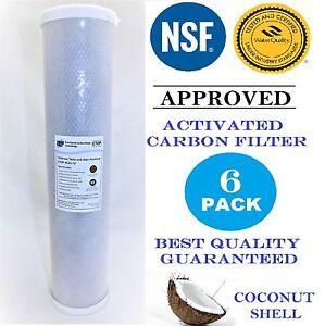 "6 Pack Carbon Block Cartridge 4.5"" x 20""  NSF Water Filter 10 Micron"