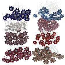 S6 Cristal Rhinestone Boda Nupcial Flor Pelo C Horquilla del C (Azul)