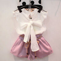 Kids Infant Baby Girl Party Outfit Clothes Bow Tops Shirt+Shorts Pants 2PCS Set