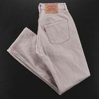 Vintage LEVI'S 501 MADE IN USA Beige Denim Regular Straight Jeans Mens W29 L32