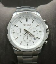 Bulova 96B335 Chronograph Off-White Dial Stainless Steel Men's Watch - New READ