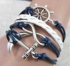 Bracciale Donna Ancora Infinito Timone braccialetto intrecciato da Uomo Blu