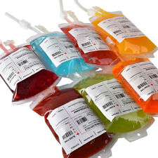 REUSABLE IV BLOOD BAGS HALLOWEEN PARTY HAUNTED HOUSE DRINK CONTAINER DECOR SCARY