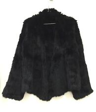 Woven Fur 100% Genuine Real Rabbit Fur Knit Coat Jacket Size S (6) Black