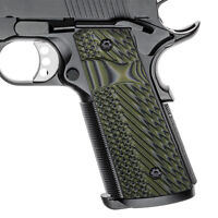 Slim 1911 G10 Grips Full Size Magwell Mag Release OD Green Ambi Cut H1SM-J1SM-21