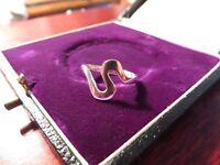 Schöner 925 Silber Ring Klein Buchstabe Welle Düne Buchstabe S Schlicht Elegant