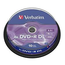 10 x Verbatim DVD+R Rohlinge Dual Layer DL 8,5GB 240Min 8x Cakebox Spindel neu