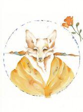 ORIGINAL 10 X 10 watercolor painting COYOTE BLESSING shaman totem spirit guide