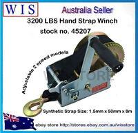 600LBS Polyester Strap Hand Winch Hand Crank Gear Winch ATV Boat Trailer-45196