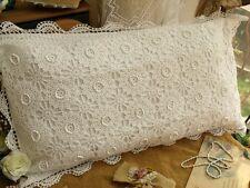 """40"""" FRENCH chic Vintage Hand crochet  Pillowcase Rosette SHABBY Sham White KING"""