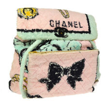 Authentic CHANEL Terry Cloth Quilted CC Backpack Bag Pile `94 Collection YG01480