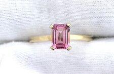 14Kt REAL Yellow Gold 7x5 Emerald AAA Pink Tourmaline Gemstone Gem Ring Sz 6.75