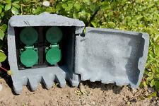 Außensteckdose Stein 5m Steckdose 4-fach Gartensteckdose Steinsteckdose