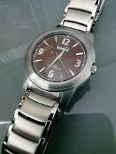 BRAND NEW IN POUCH MENS LOADED PROMOTION QUARTZ WATCH ALL STAINLESS BROWN FACE