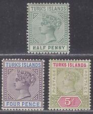 Turks Islands 1893-95 Queen Victoria Set Mint SG70-72 cat £40