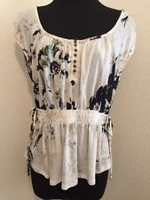 Deletta by Anthropologie Womens Top Cap Sleeve Ruching Elastic Waist Floral XS
