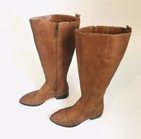Nine West Nicolah Brown Leather Zip Up Knee High Boots Size 8.5 Block Heel
