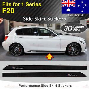 Fits BMW F20 135 1 Series M Performance Side Skirt 3D CARBON FIBER Stickers AU