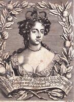 Portrait XVIIe Mary II Queen of England Ireland Scotland Maria II d'Inghilterra