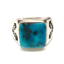 Navajo Handmade Turquoise Sterling Silver Ring Size 8.5