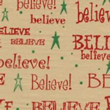 Believe Tissue Paper on Kraft/Tan background # 799 ~ 10 Large Sheets