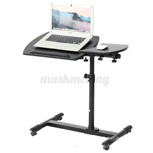 Adjustable Rolling Laptop Desk Angle Height Over Sofa Bed Notebook Table Stand