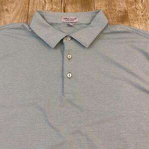 Peter Millar Summer Comfort Green Striped Short Sleeve Polo Golf Shirt XXL 2XL