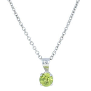 """Stainless Steel Peridot Pendant Necklace 20"""" - Round Cut .85ct Solitaire"""