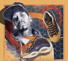 Rebook Question Mid Allen Iverson Wheat Navy Denim Basketball Boots Shoes Gum 9