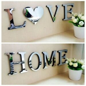 4 Letters Love Furniture Mirror Wall Sticker Decorative Art  DIY Decor