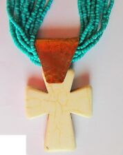 Magnesite cross necklace, stacked turquoise seed beads, copper findings, 25""