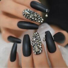 Matte Black Long Stud Rhinestone Coffin Press On Nails Glue Fake False Nail Set