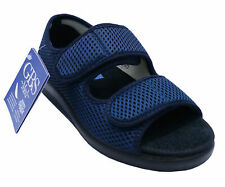 LADIES NAVY GBS MEDICAL ORTHO ADJUSTABLE NON-SLIP TOUCH STRAP SLIPPER SHOES