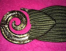 •Vintage•Gold•Hypno tic•Circle•Buckle•Sa ge•Green•Knit•Fabric •Belt•Rare•Free•Sh ip•
