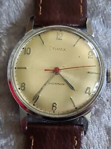 Rare Gents Vintage Chome Plated TIMEX V-CONIC Shockproof Mechanical Wristwatch