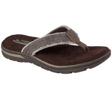 Men SKECHERS Bosnia 64152choc Chocolate Casual Flip Flops Thong Sandals Shoes 12
