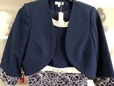 Navy Dress With Jacket. Beautiful Jewels In Dress