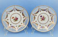 VINTAGE A.C.S. BAVARIA SHUMANN RETICULATED PLATES FLORAL SET OF 2