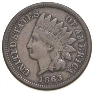 Civil War Era - 1863 Copper Nickel Indian Head Cent - Historic *919